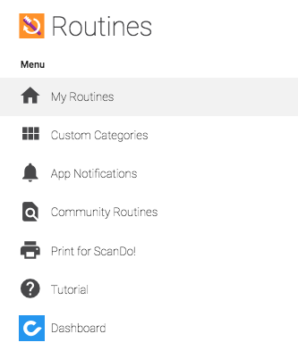 Custom Routines Menu