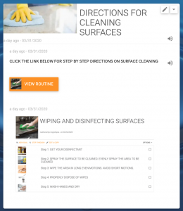 Routine for Cleaning Surfaces