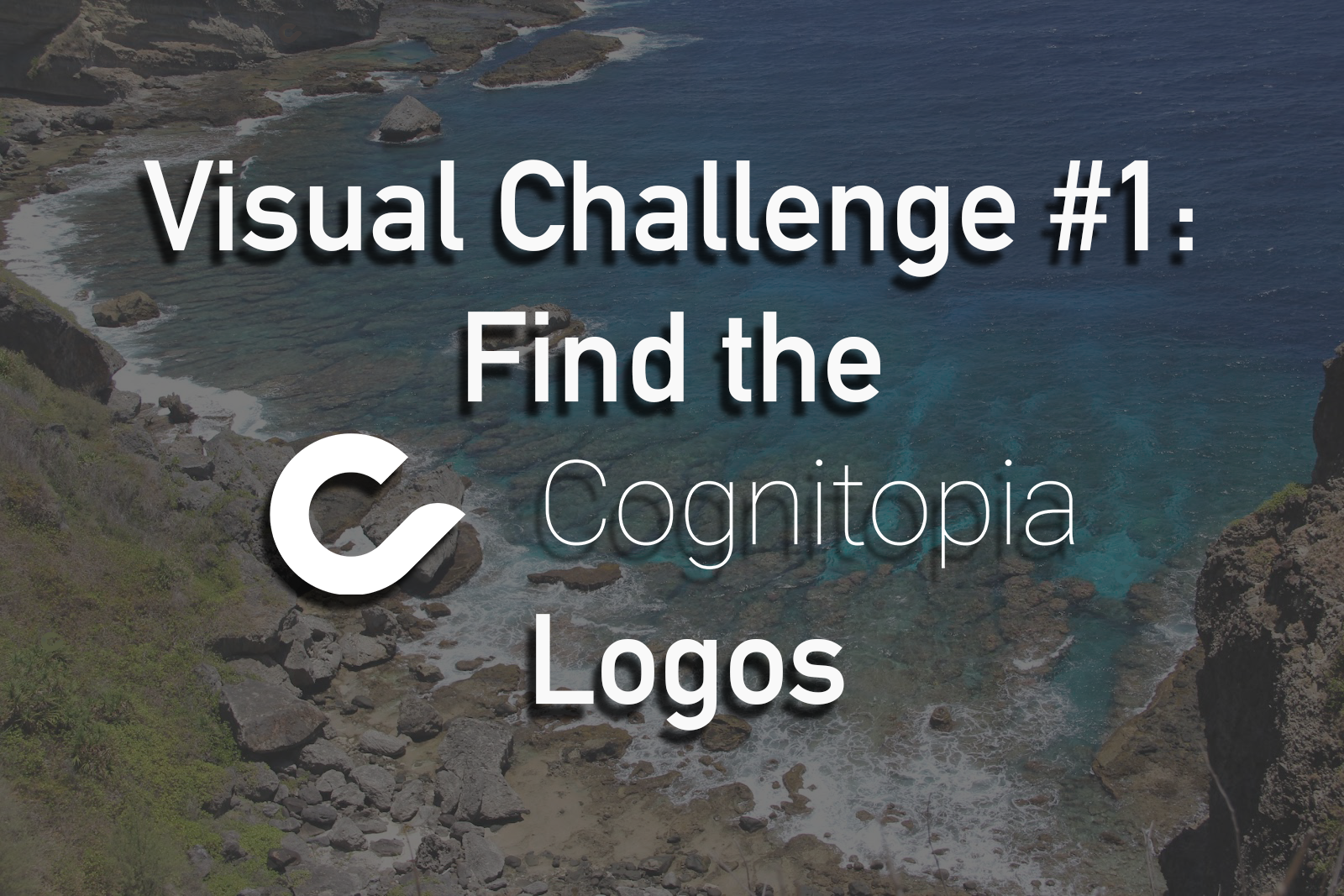 Image shows a title for a visual challenge from Cognitopia, hidden logos.